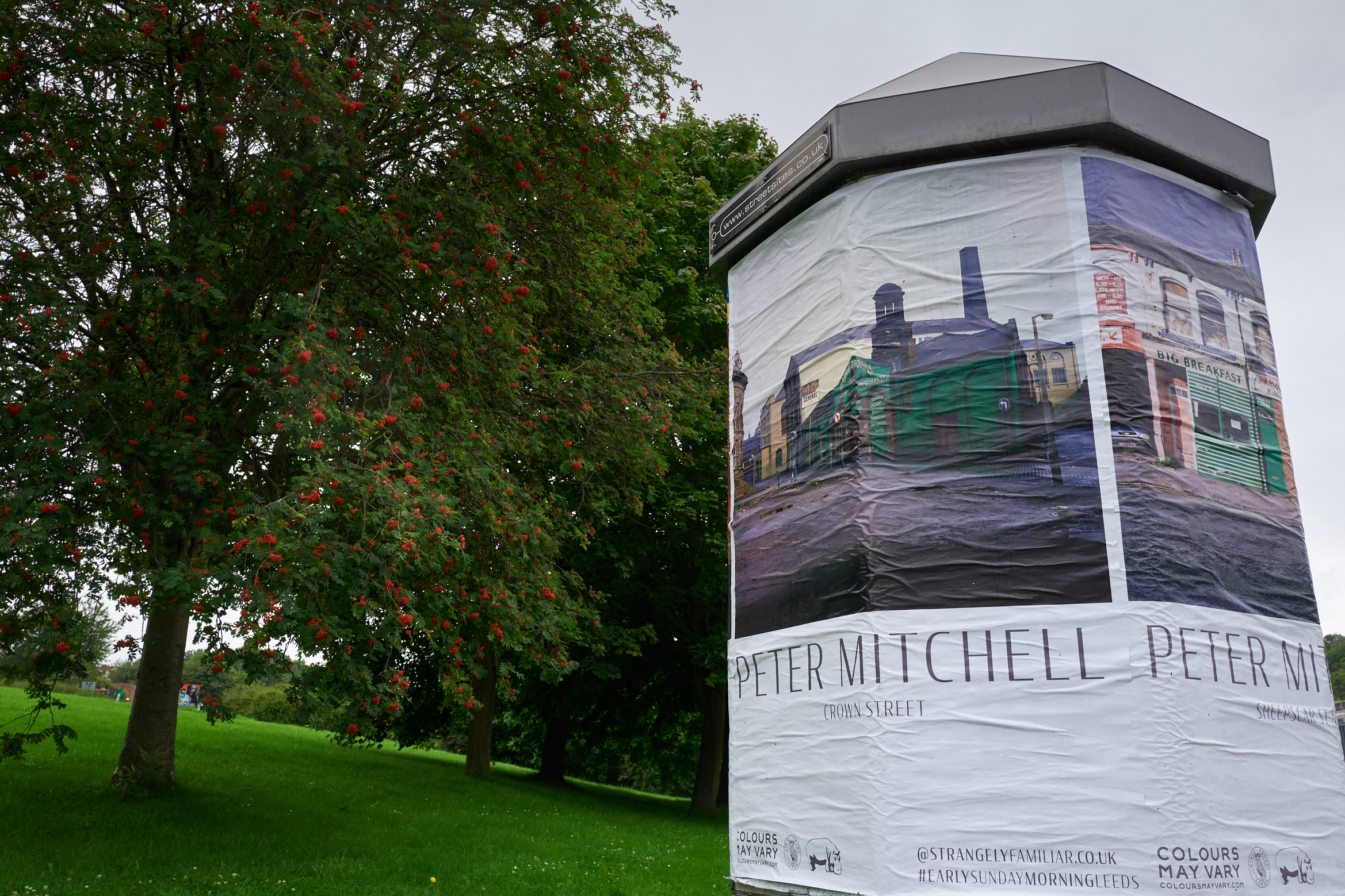Peter Mitchell poster on a poster drum