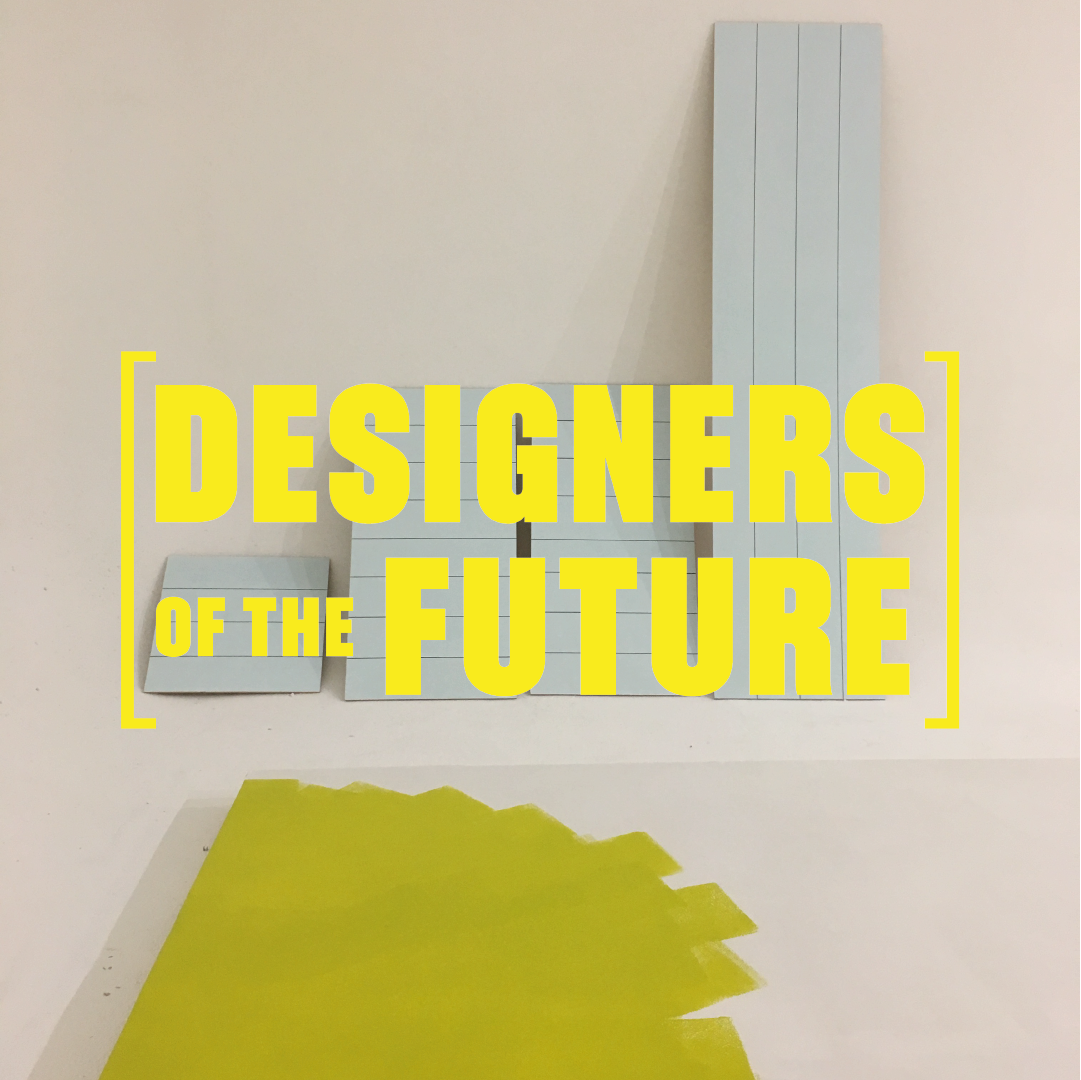 Large white wooden blocks in a white room with a partially painted yellow floor. Overwritten with text that says Designers Of The Future