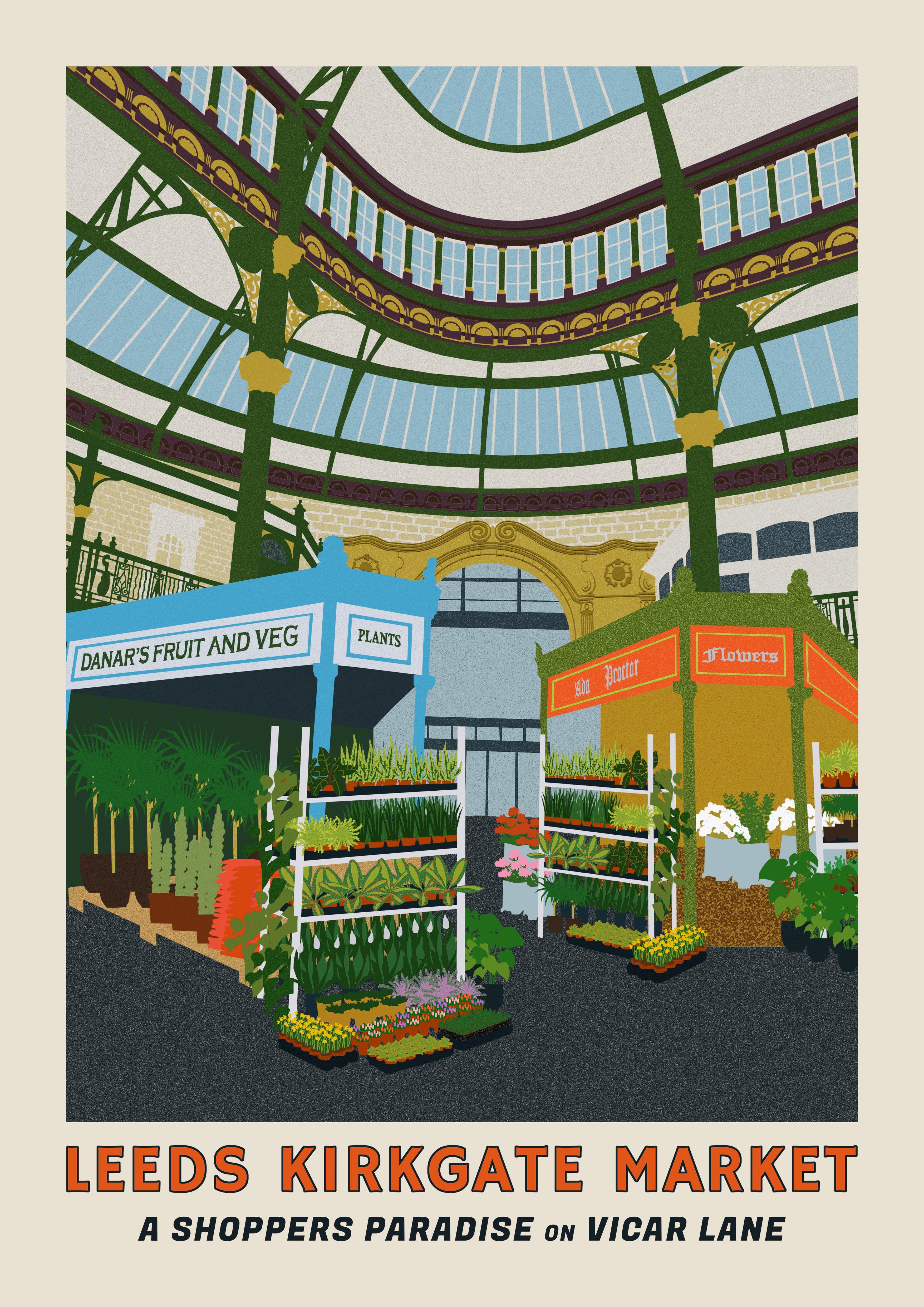 digital collage poster of kirkgate market
