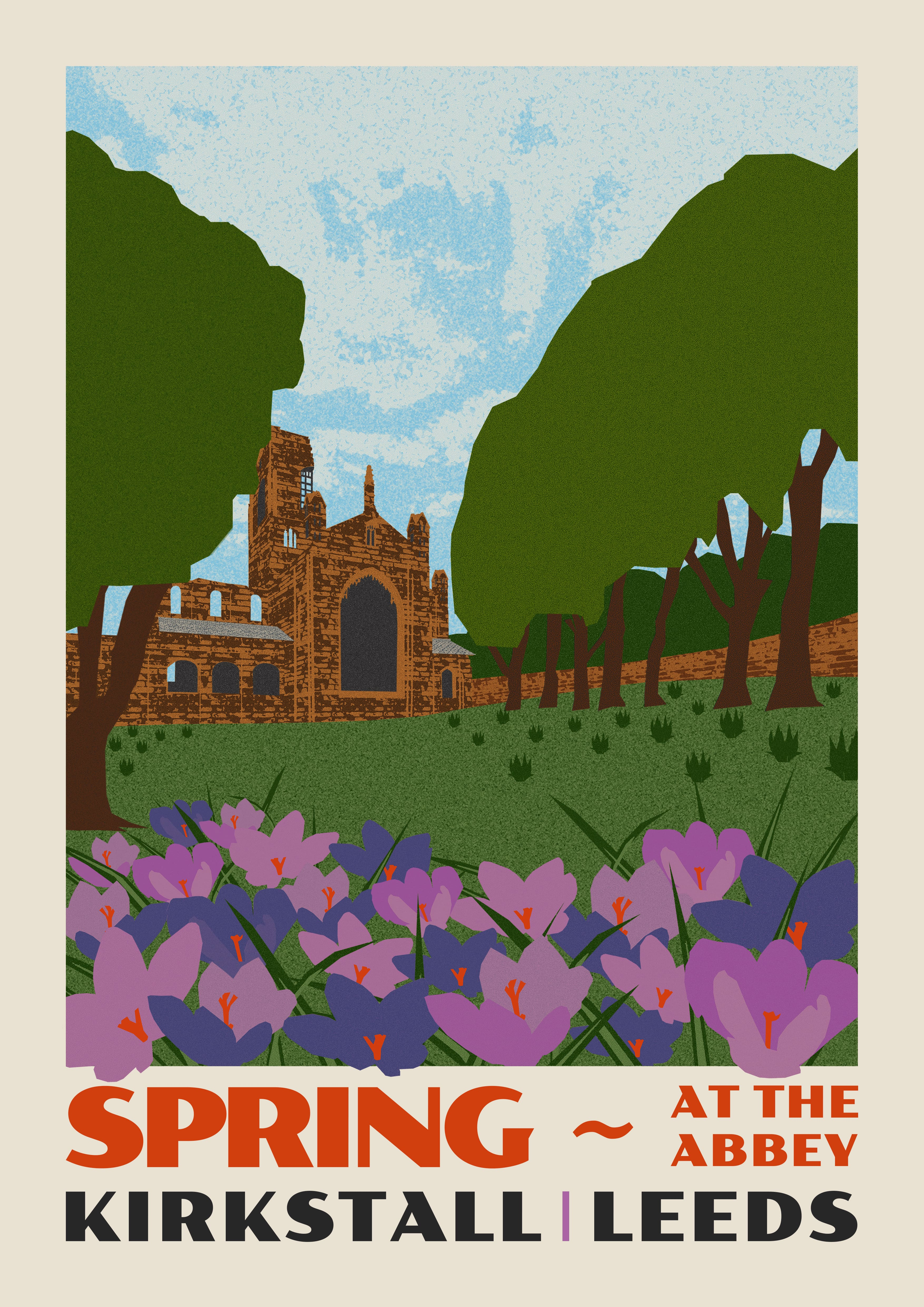 digital collage poster of kirkstall abbey