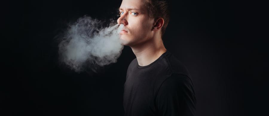 Daniel Sloss with smoke coming out of his nose