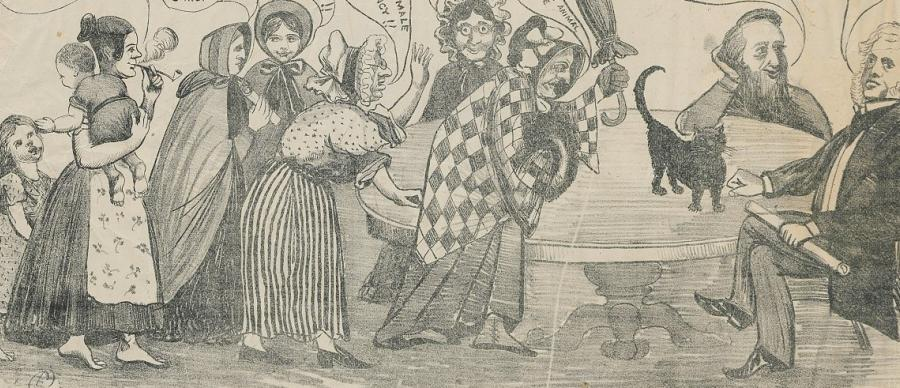 Women challenging the Factory Acts Amendment Bill (1874) in the Leeds Mercury Offices
