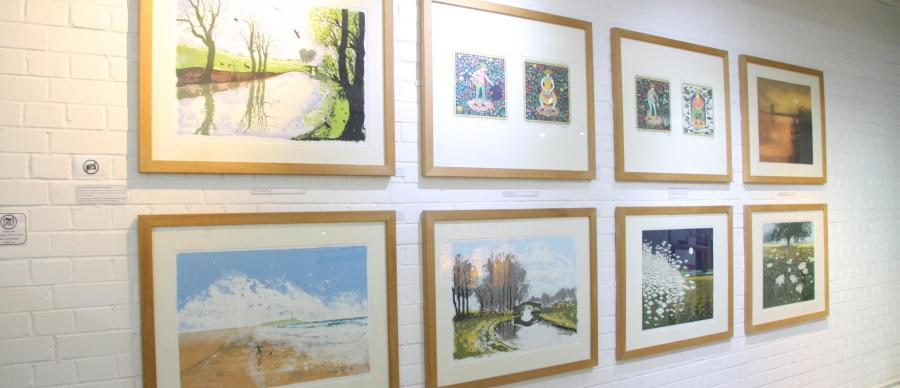 Solace Print Exhibition framed prints in the gallery