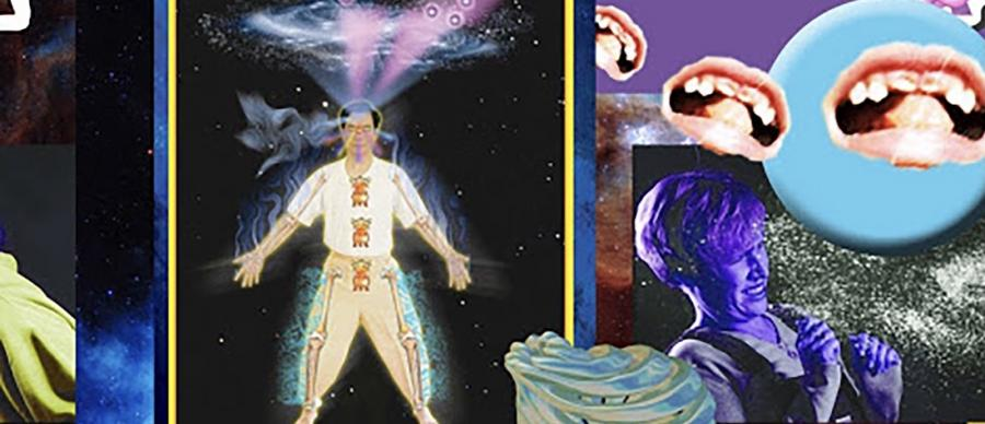 A colourful collage, including images of a person, 3 mouths, monkey emojis and galaxies.