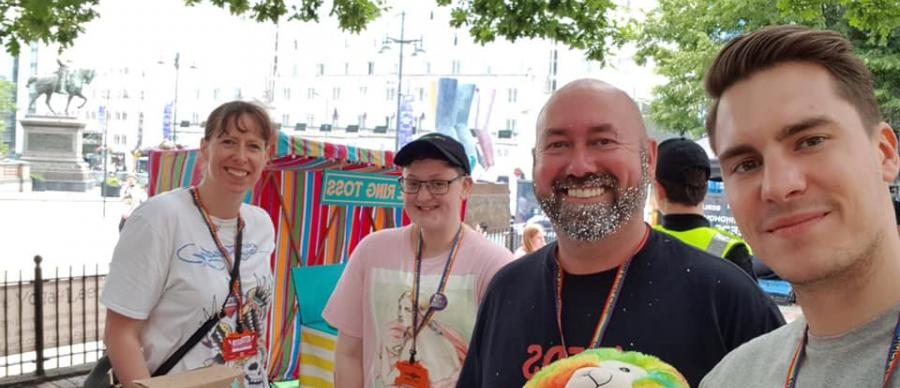 Angel volunteers at a stall