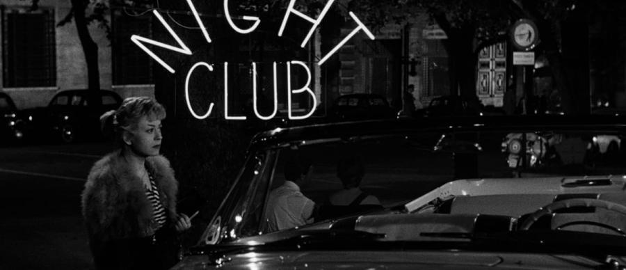 Cabiria (Giulietta Masina) outside a Rome night club in 'Nights of Cabiria' (1957)