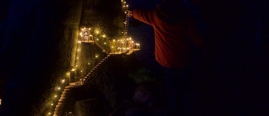 fairy lights on a fair staircase up a tree