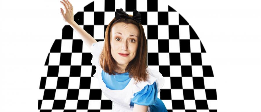 A young woman in a blue dress with a white apron climbing through a graphic black and white hole.
