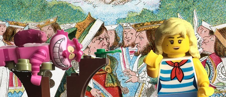 Lego Alice and the Cheshire Cat on an old image from Alice in Wonderland with the Queen of Hearts.