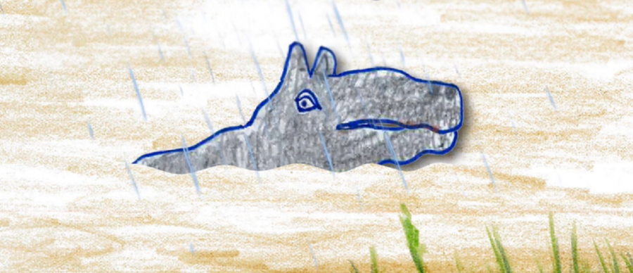 A coloured in illustration of a hippo in a swamp