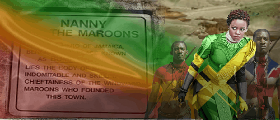 a montage image of black people in body armour and paint flags of jamaica and the union jack