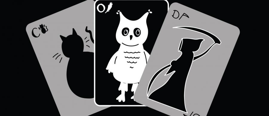 Three playing cards