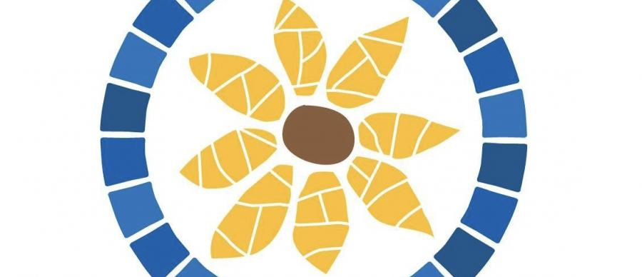 A mosaic style graphic image of a flower