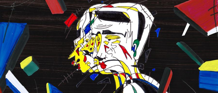 Abstract artwork of a face.