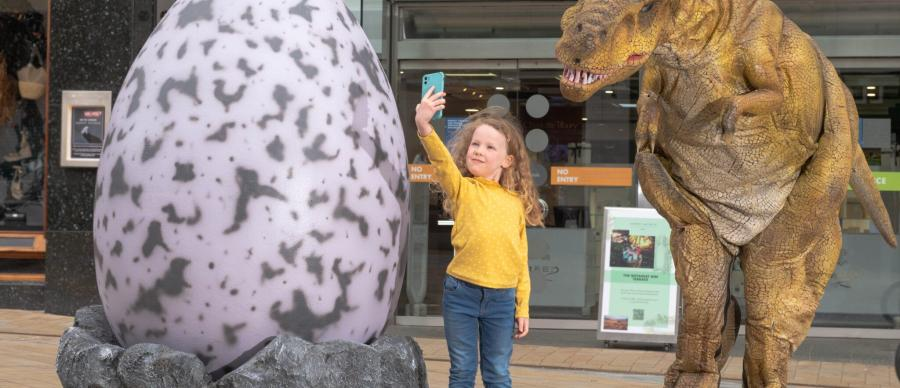 Dinosaur Egg Hunt with Roaming Dinosaur from Leeds Jurassic Trail