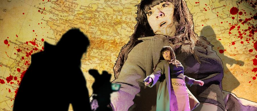 A woman, looking shocked, points a gun, with a blood-covered map of Europe in the background