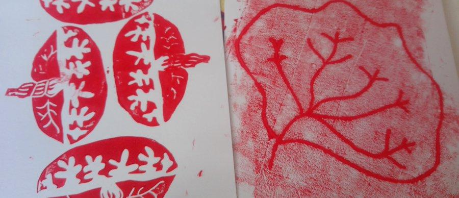 Images of Lino print placenta-inspired art