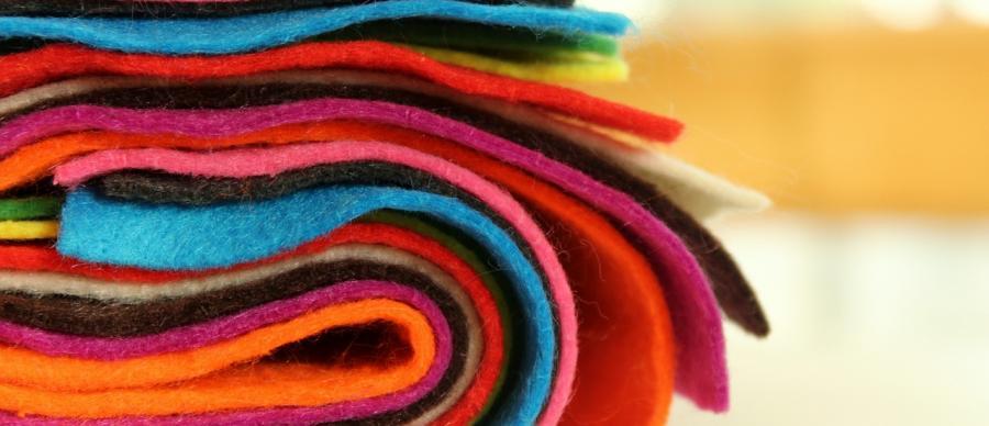 A bolt of coloured fabric