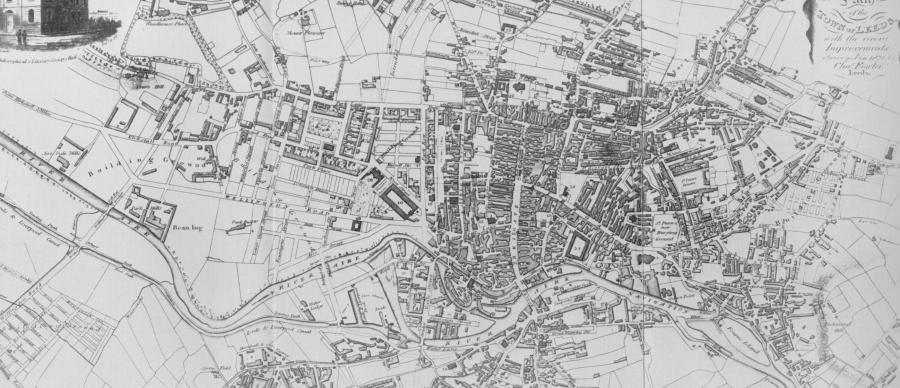 Map of Leeds in 1821 showing the old town centre the growth that had occurred since the 1720s
