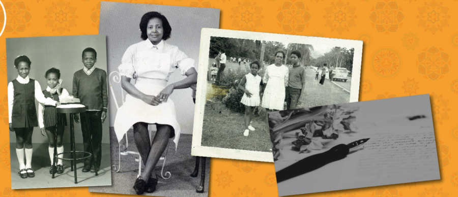 Four black and white photos on a yellow background. Three photos feature family members and one is a pen lying on a piece of paper.