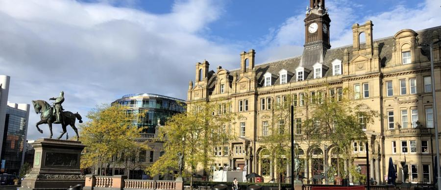 The Old Post Office overlooking City Square, Leeds, and the Statue of the Black Prince