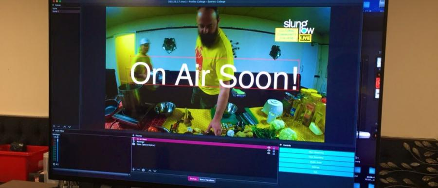computer screen showing the words 'on air soon'
