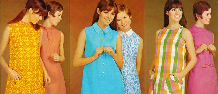 Image shows young women modelling 1960s style shift dresses