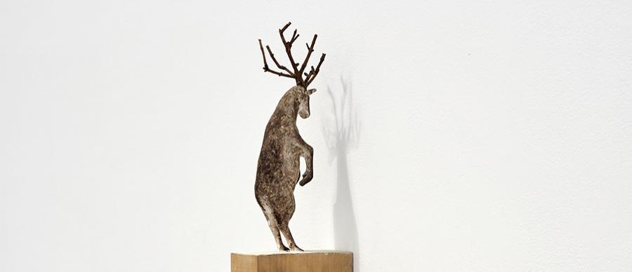Paloma Varga Weisz, Hirsch, Stehend (Deer, Standing) 1993, polychromed limewood. Image courtesy of the artist. Photo: Stefan Hostettler