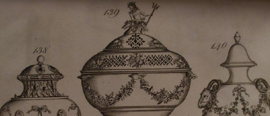 Image shows sketches of three pieces of pottery from the 18th-century Leeds Pottery