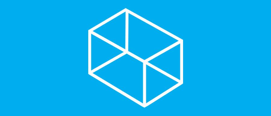 In these four walls branding image. Transparent white cube sits on blue background