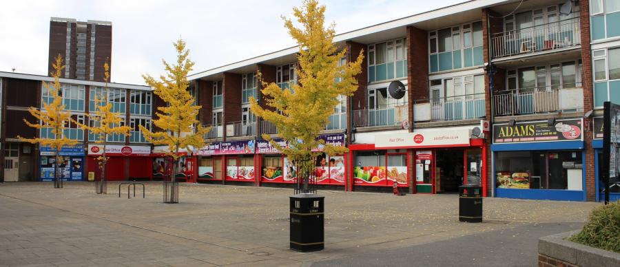 Photograph of lincoln Green Square, Leeds.
