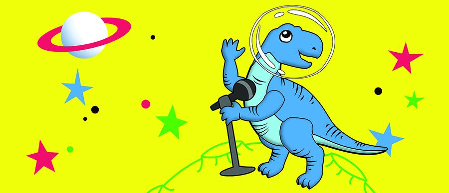 Space dinosaur with microphone