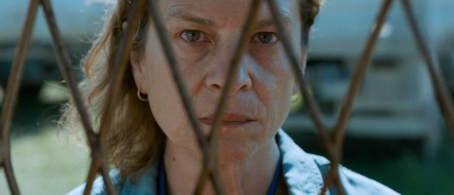 Picture of a woman looking through a wire fence