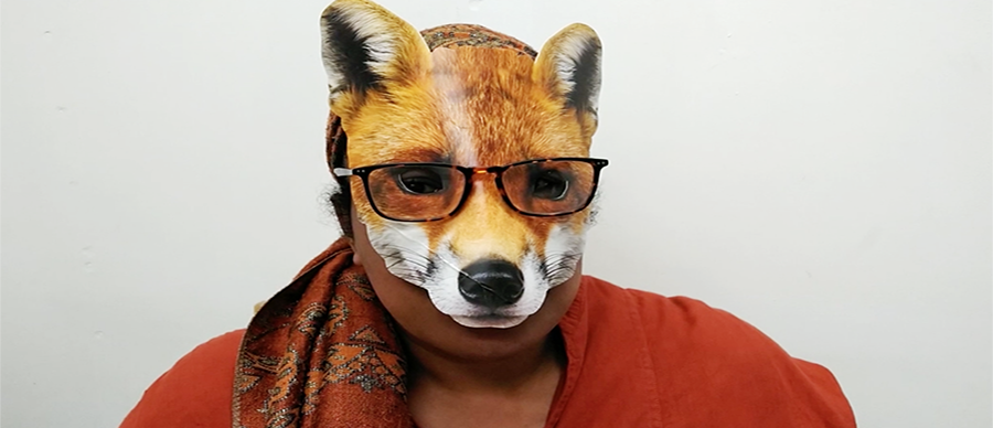 Head and shoulders of a woman wearing a fox mask and glasses