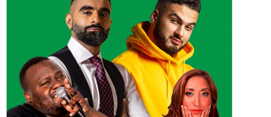 Tez Ilyas, Nabil Abdulrashid, Eshaan Akbar and Shazia Mirza on a green background