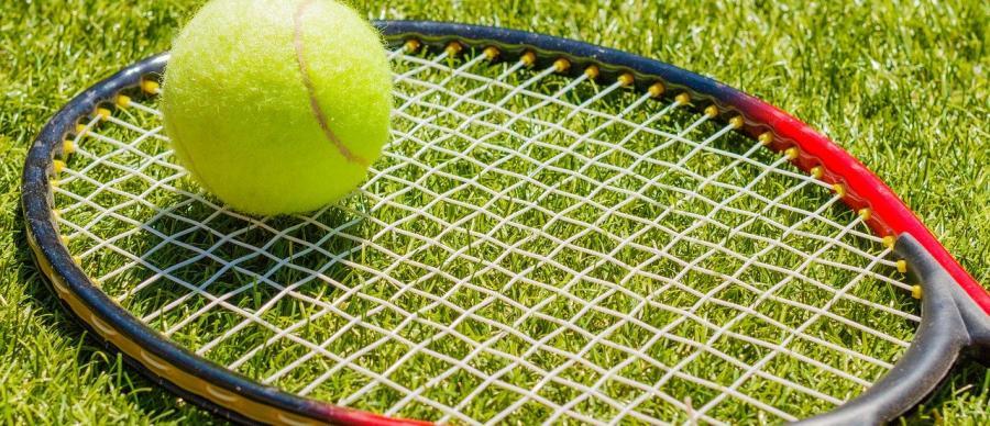tennis racket with tennis ball