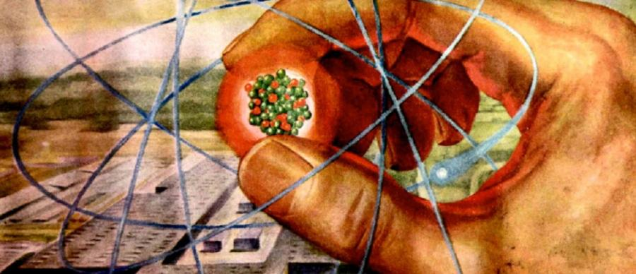 a stylised dated illustration of a hand holding an atom