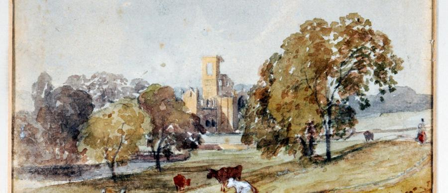 Kirkstall Abbey. View from South East by George Alexander, 1879