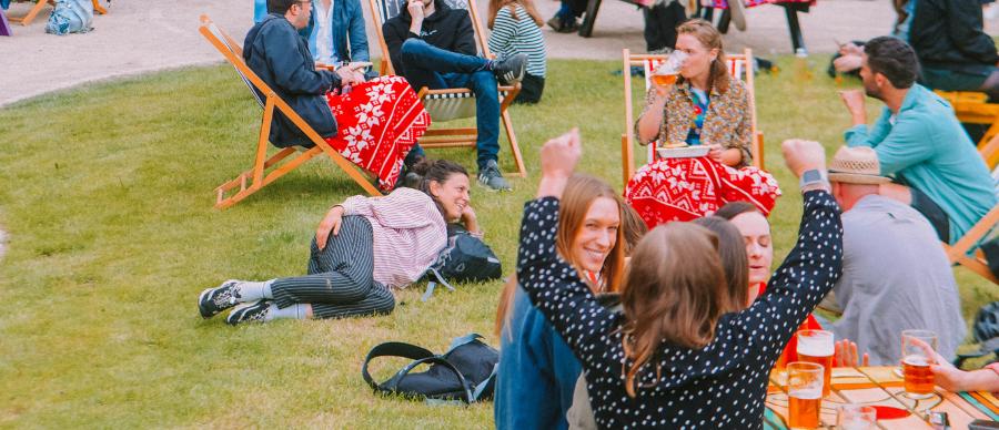 People enjoying drinks outdoors of Left Bank Leeds.