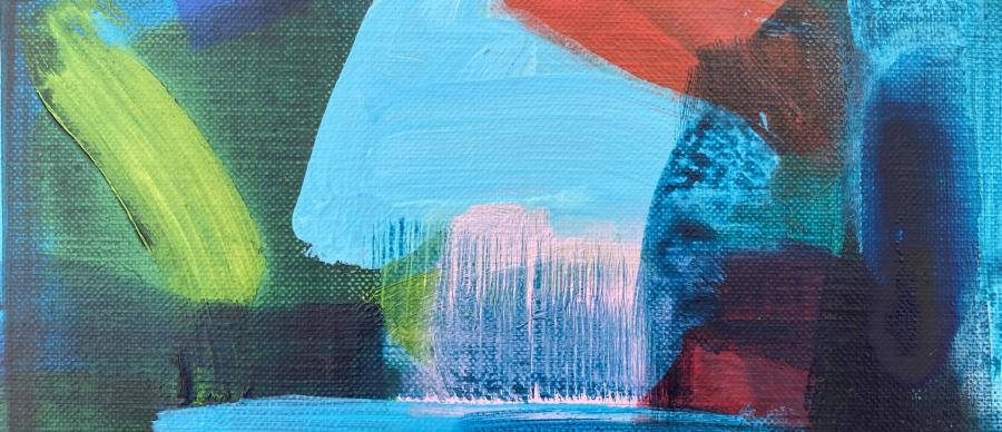 an abstract painting with green blue red and pink sweeping brushstrokes