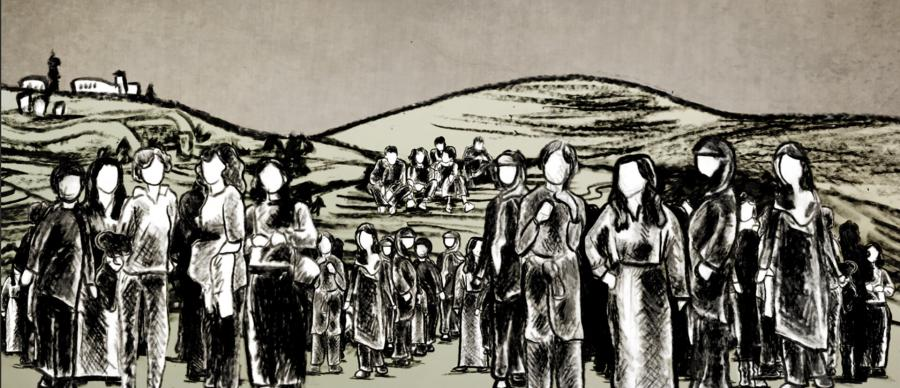 black and white image of illustrated palestinian women