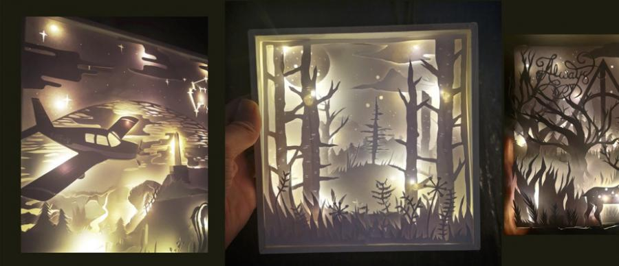 Image of 3 illuminated box frames featuring paper cut outs of planes, trees and an enchanted forest