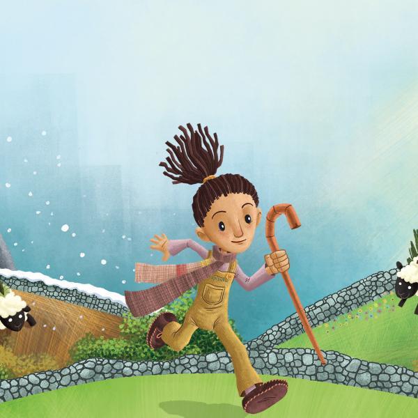an illustration of bo peep running through field