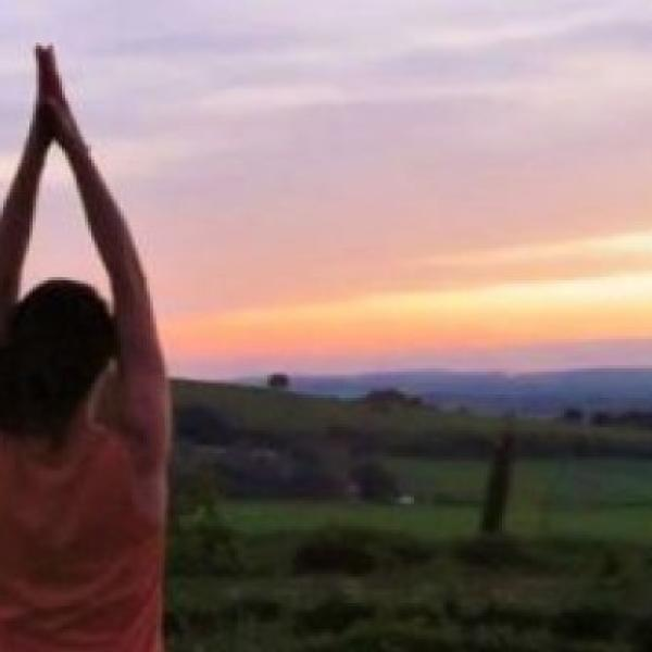 Beautiful scenery woman meditating