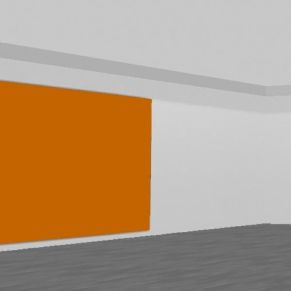 a digital gallery space with a blank orange canvas on the wall
