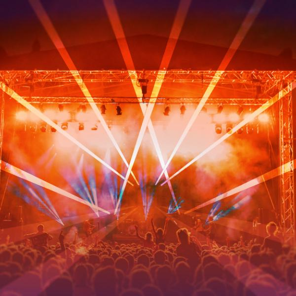 a lightshow at an outdoor gig