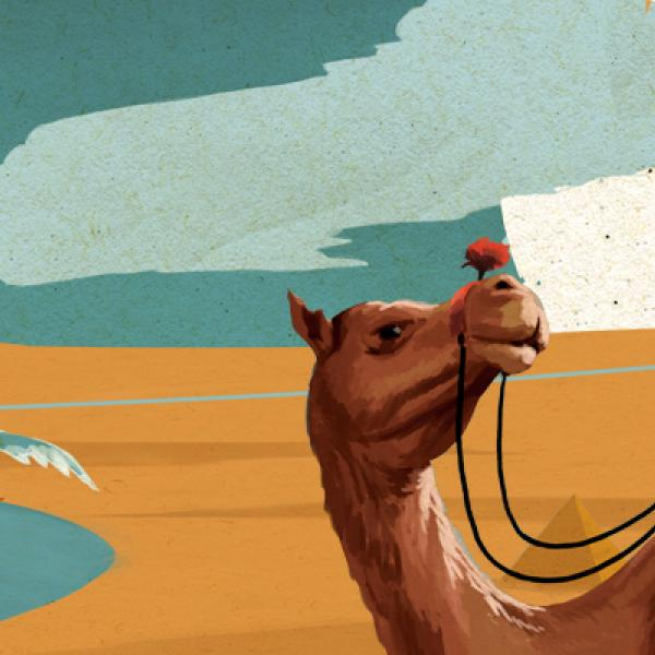 a man stood in a leaking boat and a woman sat on a camel in Egypt