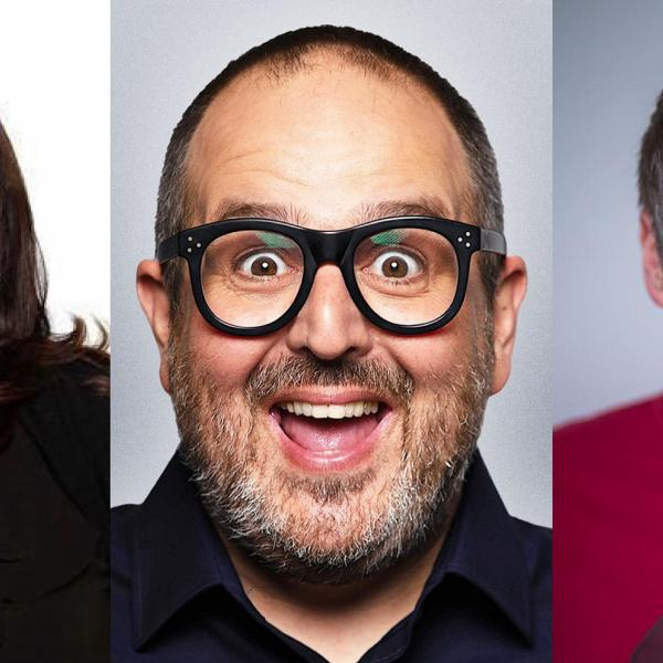 Three images of comedians