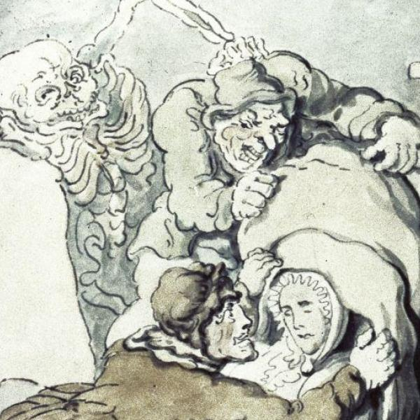 Rowlandson's Resurrection Men, showing a skeleton, a dead body and two snatchers