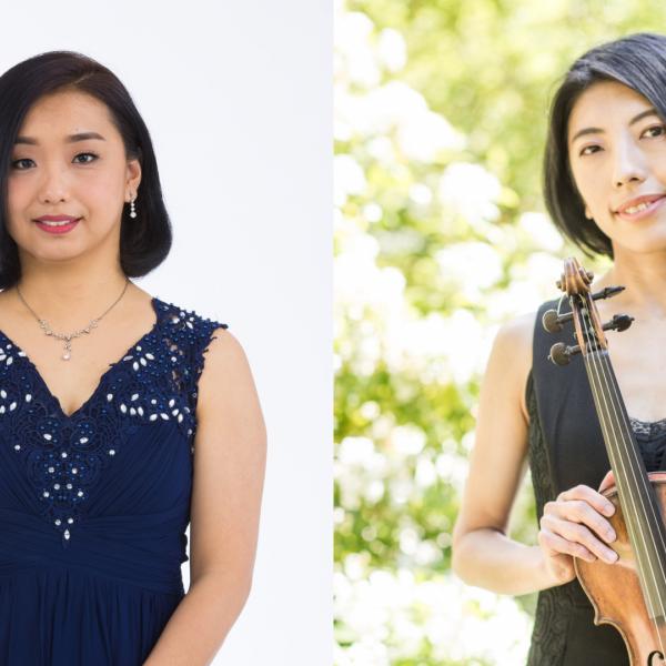 Masumi Yamamoto, harpsichordist on the left, Asuka Sumi, baroque violinist on the right.